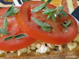 Tomato, Feta & Oregano panini before grilling