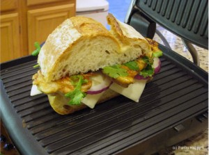 Barbecued Chicken Panini on the grill