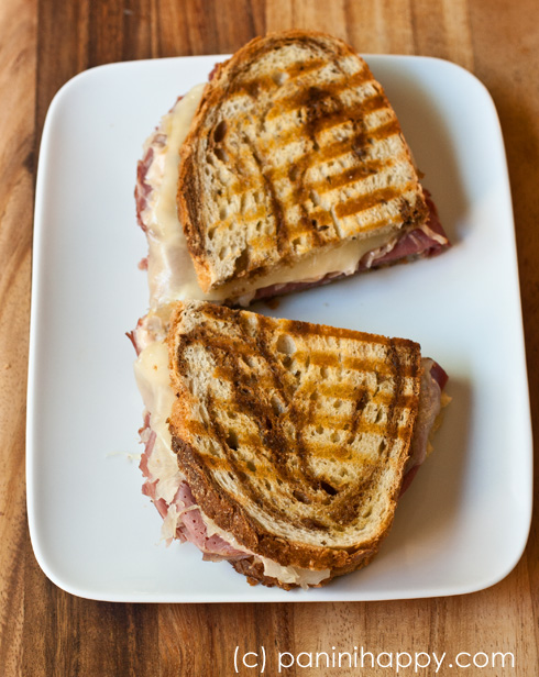 cheddar scallion panini pastrami and aged cheddar football panini