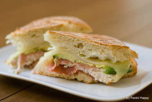 Post image for Prosciutto-Wrapped Turkey, Avocado & Swiss Panini