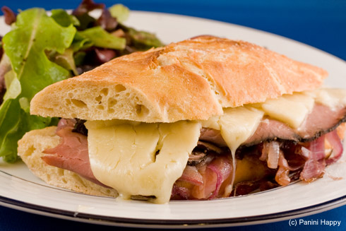 Roast Beef Panini With Caramelized Onions And Horseradish Cheese Sauce ...