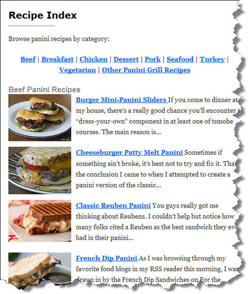 IMPROVED Panini Happy Recipe Index