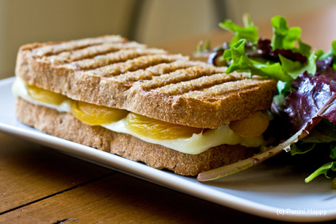 Post image for Brie & Dried Apricot Panini on Walnut Bread