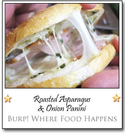 Roasted Asparagus & Onion Panini by Lori at Burp! Where Food Happens