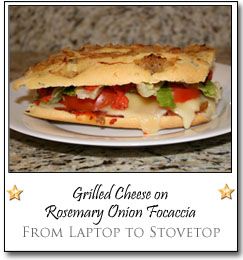 Grilled Cheese on Rosemary Onion Focaccia by Melissa at From Laptop to Stovetop