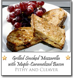 Grilled Smoked Mozzarella with Maple-Caramelized Bacon by Shiv at Pithy and Cleaver