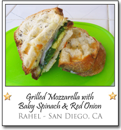 Grilled mozzarella with baby spinach and red onion by Rahel of San Diego, CA