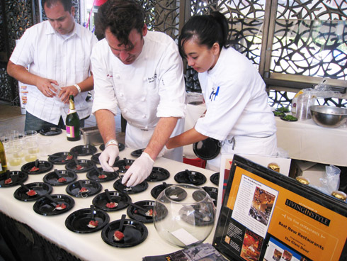 The Glass Door's executive chef Robert Conaway plates his ahi poke - fresh from Hilo, HI