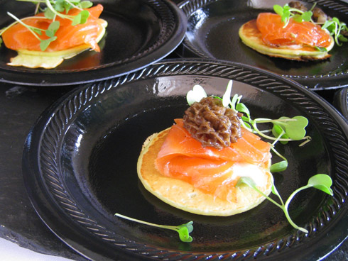 Pacifica Del Mar's house-smoked salmon with sweet pea blini and morel mushrooms (my favorite dish of the event)