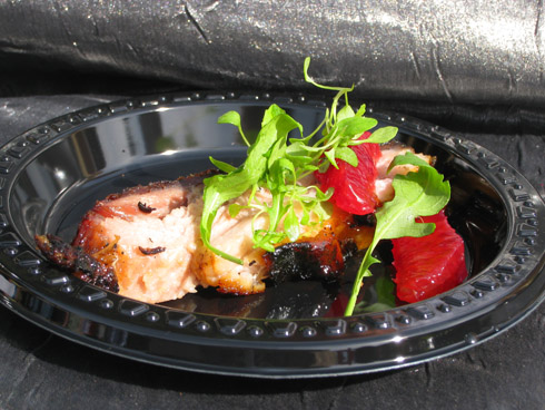 Anthology's grilled Berkshire pork belly with citrus and ginger lacquer, petite arugula and blood orange