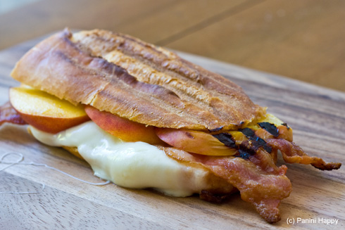 Peaches & Bacon Panini with Fresh Mozzarella on Baguette
