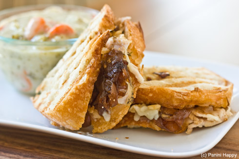 Post image for Turkey & Gruyere Panini with Roasted Garlic & Onion Jam