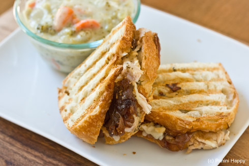 Turkey & Gruyere Panini with Roasted Garlic & Onion Jam