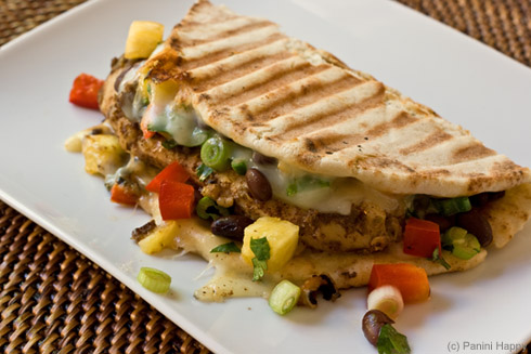Post image for Jerk Chicken Panini with Pineapple-Black Bean Salsa