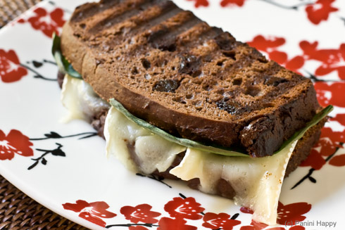 Brie & Basil Grilled Cheese on Chocolate Bread | Panini Happy®