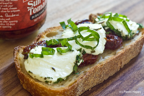 Open-Faced Grilled Goat Cheese with Sundried Tomatoes & Herbs