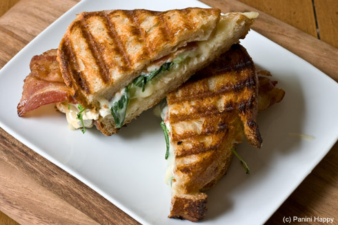 Brie & Goat Cheese Panini with Bacon and Green Tomato