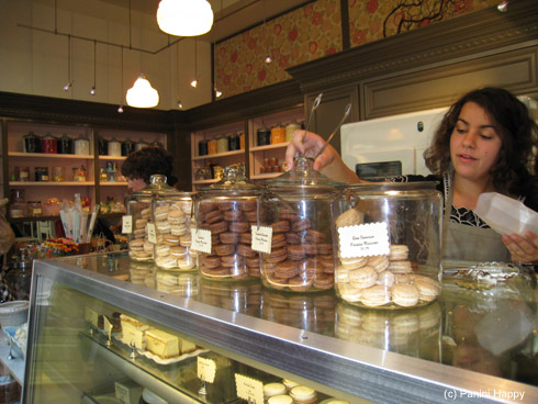 The glorious jars of macarons at Miette