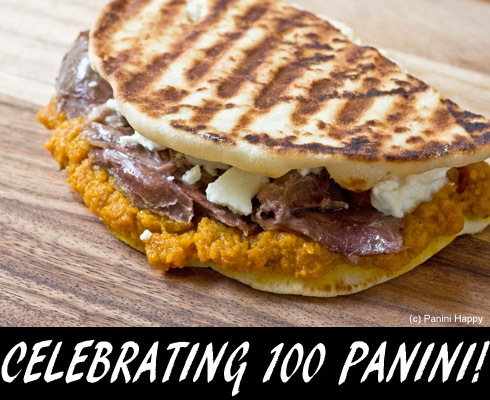 Post image for Pumpkin, Duck Confit & Feta Panini — Celebrating 100 Panini!