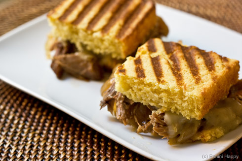 Pulled Pork Cornbread Panini with Caramelized Onions and Pepper Jack