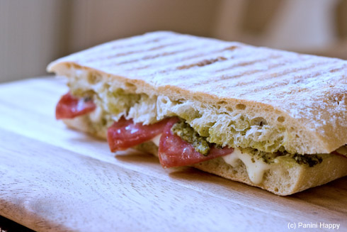 Sopressata Panini with Fresh Mozzarella & Pesto