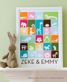One of Petite Lemon's darling personalized alphabet posters