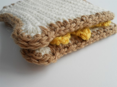 Crocheted Grilled Cheese Sandwich, by seventytwostitches