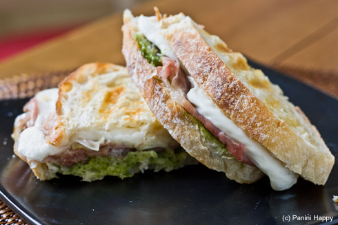 Post image for Prosciutto, Pesto & Fresh Mozzarella Panini