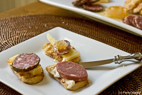 Trying out different cheese, salame and condiment combinations