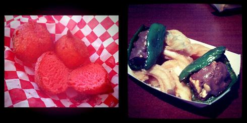 Deep Fried Kool-Aid and Baby Ruth-Stuffed Fried Jalapenos over Churros