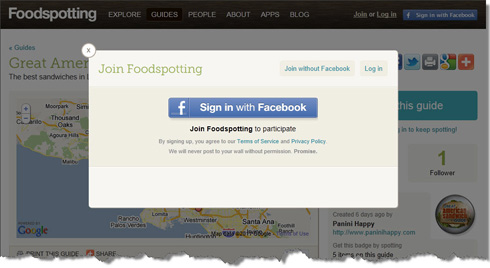 Connect to Foodspotting through Facebook or create an account