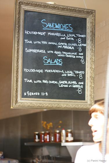 Just three sandwiches on the menu board
