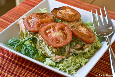 Foil-Grilled Salmon with Pesto and Tomatoes