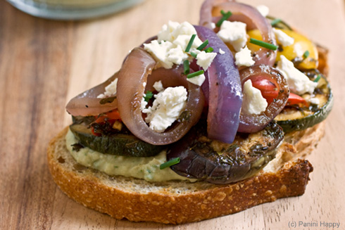 Post image for Mediterranean Grilled Vegetable Tartine