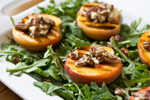 Post image for Grilled Peach Salad with Toasted Pecans, Blue Cheese and Honey Balsamic Syrup