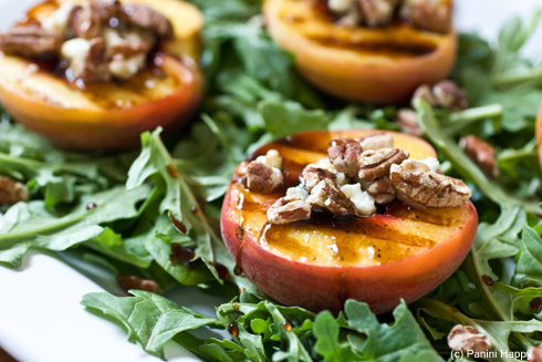 Grilled Peach Salad with Toasted Pecans, Blue Cheese and Honey Balsamic Syrup