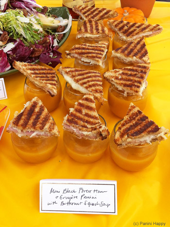 Mini Black Forest Ham and Gruyere Panini with Butternut Squash Soup