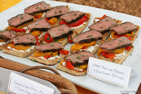 Steak, Roasted Bell Peppers and Goat Cheese Tartines