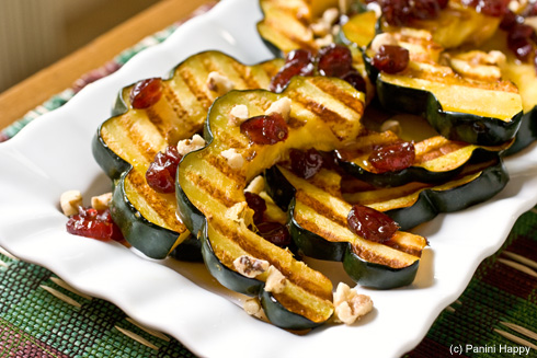 Grilled Acorn Squash with Cranberry-Ginger Maple Syrup