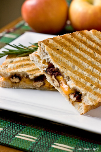 Post image for Cheddar and Apple Butter Panini with Rosemary Candied Pecans