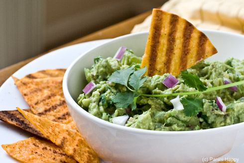 Grilled Tortilla Chips and Grilled Tomatillo Guacamole
