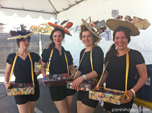 These ladies in cheese hats paused for a photo opp as they were rehearsing their kick line routine.