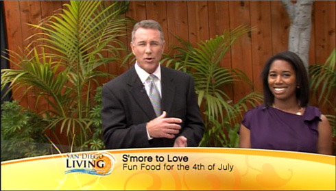 Live TV cooking demo on San Diego Living - Nutella S'mores Panini