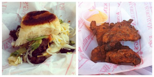 Food truck treats: (left) Short Rib Sliders from Kogi and (right) Buttermilk Fried Chicken from Ludotruck
