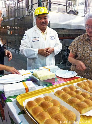 King's Hawaiian CEO Mark Taira treats us to fresh-baked honey wheat rolls, hot off of the bakery line