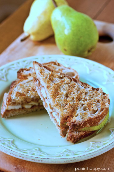 Post image for Granola-Crusted Pear and Almond Butter Panini