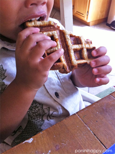 My 2-year old loved his waffle sandwich!