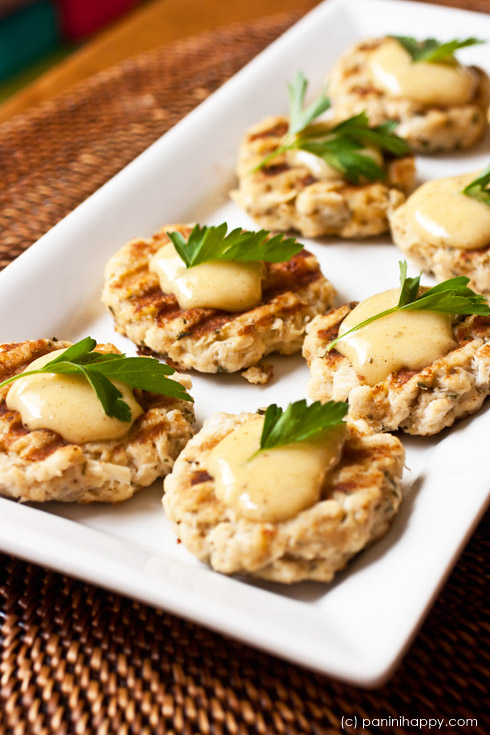 Grilled Crab Cakes with Old Bay Aioli ...get the #recipe at www.paninihappy.com (c) Kathy Strahs