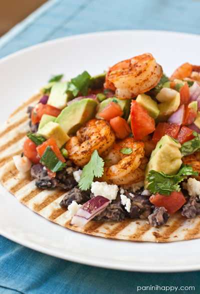 Grilled Shrimp Tostadas with Mashed Black Beans and Avocado Salsa Fresca ...get the #recipe at www.paninihappy.com (c) Kathy Strahs