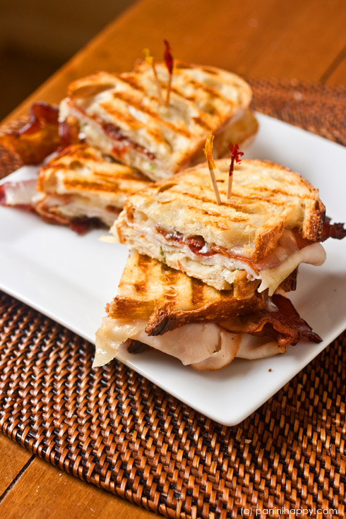 Turkey, Bacon and Swiss Panini with Green Goddess Mayo ...get the #recipe at www.paninihappy.com (c) Kathy Strahs